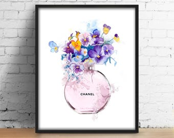 Chanel bottle flowers print Coco Chanel perfume digital art Fashionista poster Watercolor printable illustration Fashion Girl Room Wall Art