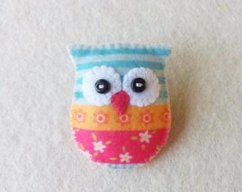 Owl Brooch Pin - Felt Owl - Handmade