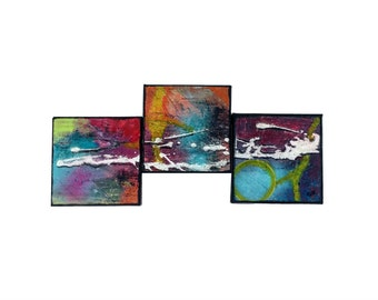 Messy Gleam - Triptych abstract acrylic painting Art abstract modern multi colors reliefs