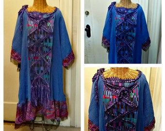 Lagenlook Dress Plus Size Trendy Tribal Fusion Synergy 4X, 5X, 6X, Art Wear Royal Blue Womens Boho Chic Cotton Gauze Sari Silk with Sleeves