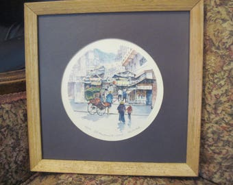 Old Stone Paved Street in H.K. color print by Tam San Mok Framed Signed by the artist #85 of 1000