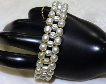 Pretty Vintage Miriam Haskell Coiled Three Row Open Work Baroque Pearl  Bracelet