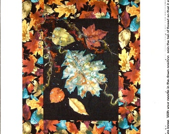 Fall Leaves Thread Painting Wall Quilt Pattern / Bead Embellishment / Laughing Cat Designs
