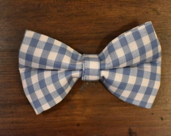 Blue Gingham Pet Bow Tie