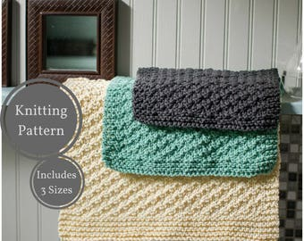 Washcloth Dishcloth Pattern | Easy Knit Washcloth Pattern | Easy Dishcloth Knitting Pattern | Beginner Knitting Pattern | Home Knitting