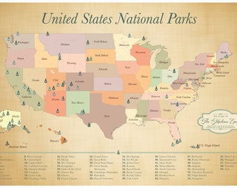 SALE US National Parks Map push pin adventure map List of