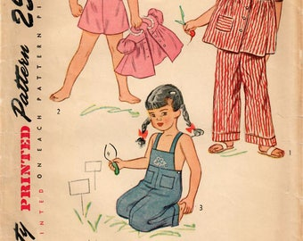 1940s Simplicity 2551 Vintage Sewing Pattern Toddler Sunsuit, Playsuit, Overalls, Smock Size 1