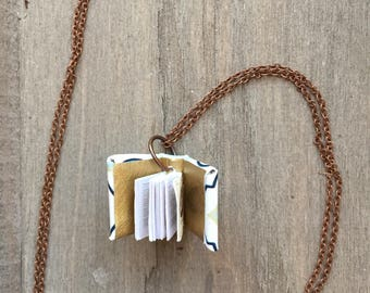 Book necklace, book Jewellery, necklace with tiny book, book lover necklace, small book necklace, book worm jewellery, miniature book charm