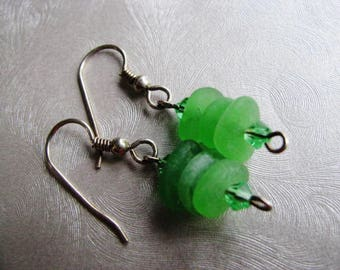 Kelly Green Stacked Sea Glass - Seaglass Earrings - Sterling Silver - Dangle Earrings - Beach Glass Jewelry-Prince Edward Island Ocean Gifts