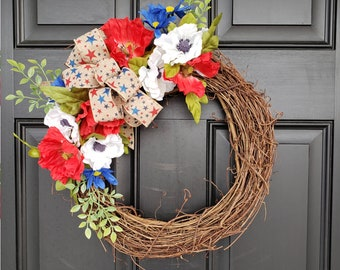 Red, White and Blue Floral Wreath | Patriotic Wreath |Memorial Day | 4th of July | Grapevine Wreath | Poppies | Daisies | Star Burlap Bow