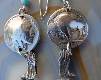 Buffalo Coin Earrings with sterling silver dangles (eagles)  Native American