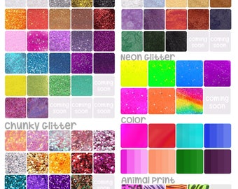 Font, Glitter, Color and Embellishments Samples * Please do NOT PURCHASE this listing
