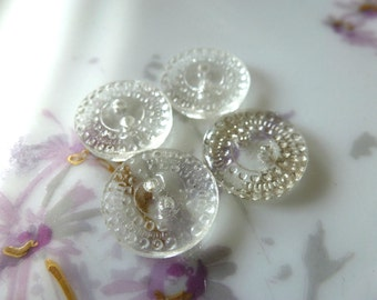4 Vintage Clear German Bumpy Glass Buttons C38
