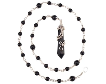 Onyx Pendulum Witches Ladder Necklace