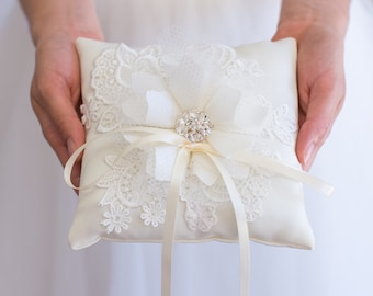 Ivory Ring Pillow -  Handmade with Love in the USA, Ring Bearer Pillow, Lace Ring Pillow, Handmade Flower, Rhinestone, Ring Boy