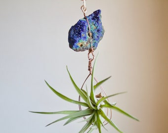 Air Plant Hanger, Natural Boho Decor, Azurite and Malachite Crystal Airplant Holder, Wall Planter, Boho Gift, Blue and Green, Natural