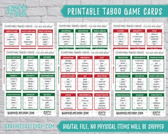 Christmas/Winter Taboo Game 54 Cards   Party Supplies, Company, Holidays   PDF File, Instant Download, Ready to Print