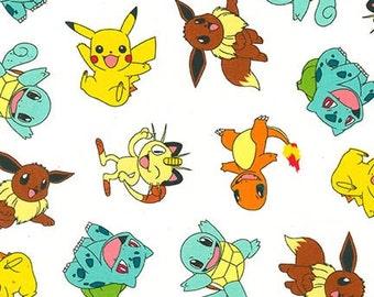 Pokémon cotton fabric from Robert Kaufman, character toss, 1/2 yard