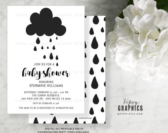 Black & White Rain Cloud Baby Shower Printable Invitation.  Gender Neutral. Sprinkle. Boy. Girl. Twins. Joint. By Tipsy Graphics