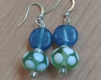 Green and White Polka Dot Delight Earrings