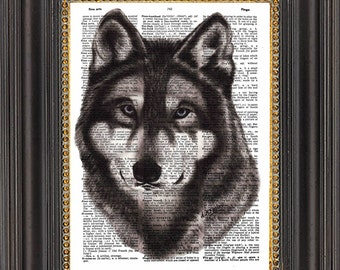Wolf Wall Art, Oil Painting Print on Antique Dictionary Paper, Wolf Art Print on Vintage Dictionary Page, Wolf Illustration Dictionary Print
