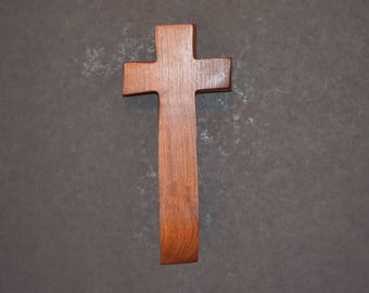 "Wooden Wall Cross; 4""x9""x1""; Rustic Cabin Decor;  Wall Cross Decor; Crooked Cross; Mesquite; Handmade;  Free Ground Shipping cc20-2121617"