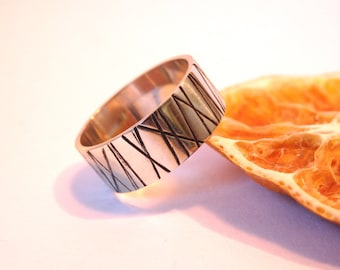 925 silver ring with stripes
