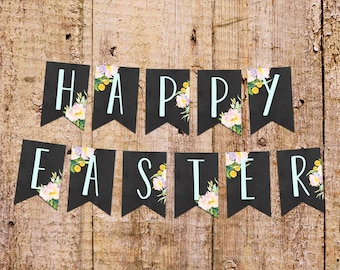 """4x6 """"Happy Easter"""" Printable Banner Cards + Watercolor Flowers Instant Download"""