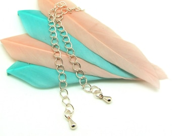 Set of 5 Metal Extension chains gold Pale pink with drop - 7 cm