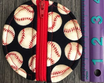 Baseball print pouch Earbud pouch Pressed penny purse Coin purse Bookbag fob
