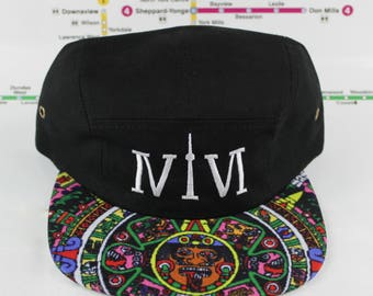 Mayan Tribal 5 Panel! Beautiful 416 Five Panel Hats! Mayan, Original, Custom, CN Tower, The Six, 6ix, Roman Numerals