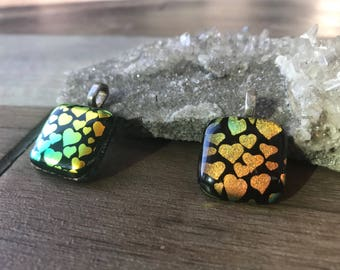 Lovely Dichroic Heart Glass Pendants