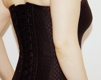 Designer Black Brocade Corset - High quality fabric corset - Made to order