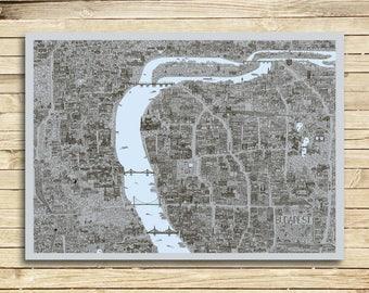 BUDAPEST design map poster, art print - 'industrial'