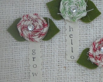 Fabric Rosettes from Ticking