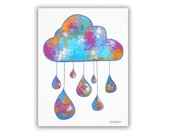 Rain Cloud Art, Original Cloud Painting on Canvas, Colorful Wall Art, Modern Nursery Art 9x12