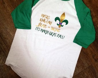 It's Mardi Gras Y'all Shirt, Mardi Gras Shirt, Mardi Gras Kid's Shirt, Mardi Gras Children's Shirt, Fleur De Lis Shirt, Children's Raglan