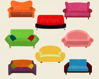 70% OFF Sofa Clipart, Sofa Clipart Graphics, Personal & Small Commercial Use, Instant Download