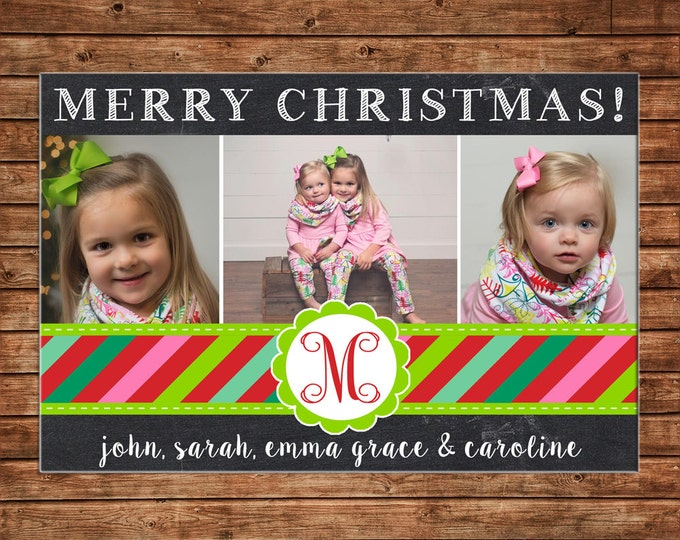 Photo Picture Christmas Holiday Card Chalkboard Chalk Bright Multi Stripe Monogram - Digital File