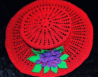Red Hatter Crocheted Hat
