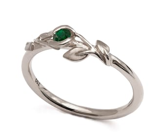Emerald Flower Ring - 14K White Gold and Emerald engagement, emerald leaves ring, Engagement band, engagement ring, May Birthstone, 14