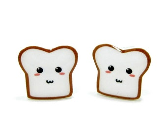 Bread Buddy 2 Toast Earrings | Sterling Silver Posts Studs | Gifts For Her