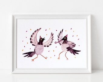 Partying Pigeons Art Print - Giclée illustrated print, Limited Edition, Quirky birds print, Animal print, Unframed, A4