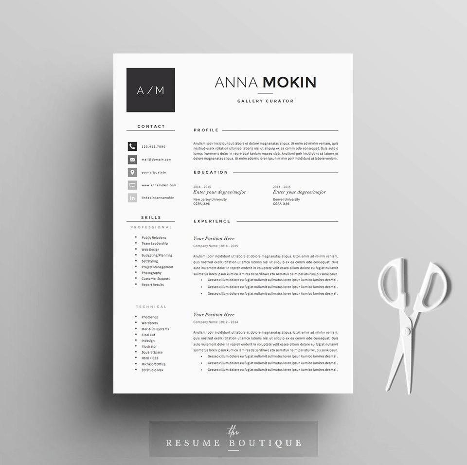 5 página curriculum vitae / plantilla de CV carta de