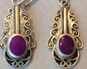 Sterling Silver Filigree Purple Enamel Pierced Earrings
