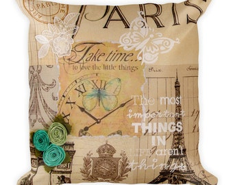 Time in Paris Square Pillow
