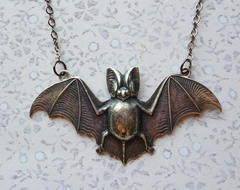 SALE Silver Batty // Large Silver Plated Bat Necklace on Silver Chain, Goth Halloween Oddity Nature Witchy Vampire Occult Pagan Boho