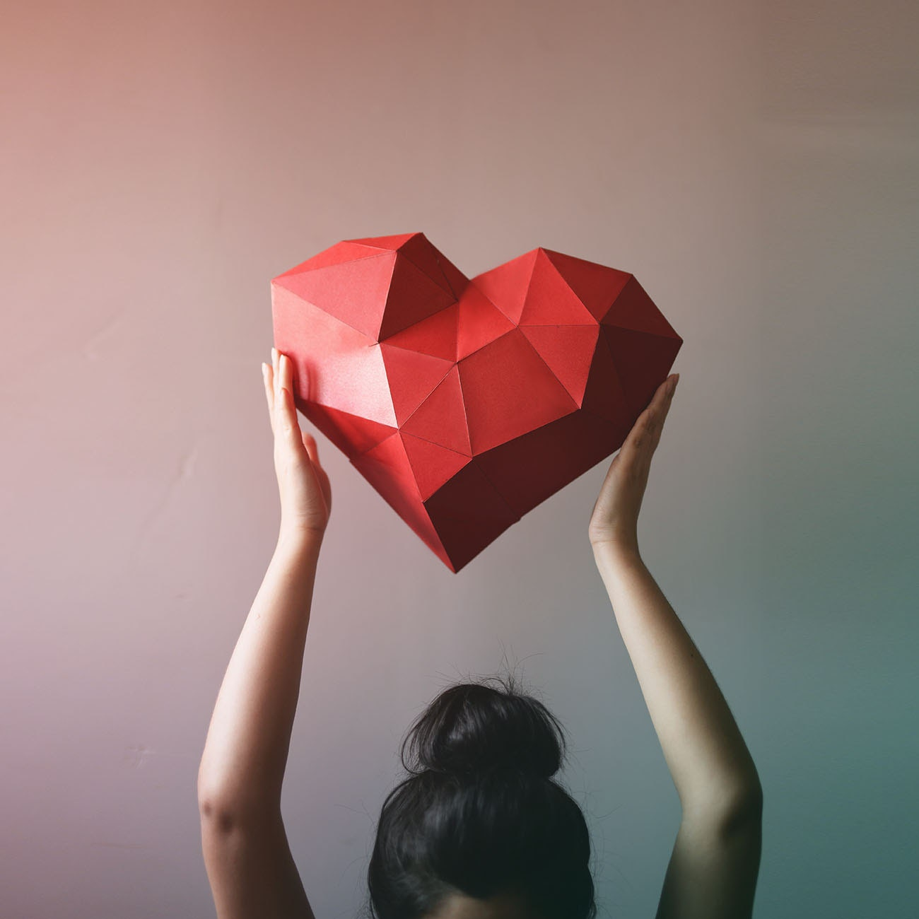 3d geometric heart paper craft low poly paper craft zoom jeuxipadfo Gallery