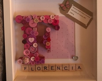 Personalised button letter scrabble frame - christening