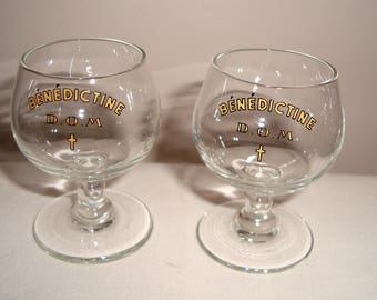 Pair Of Benedictine Liqueur Vintage Glasses. 5.5cm in Height. D.O.M and Bénédictine inscribed.